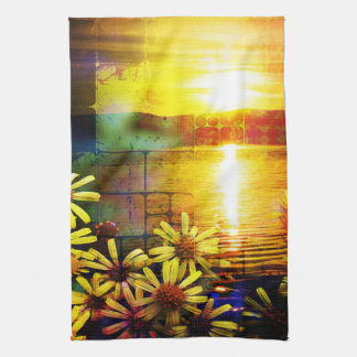 Pretty Yellow and Gold Sunflower Landscape Hand Towels