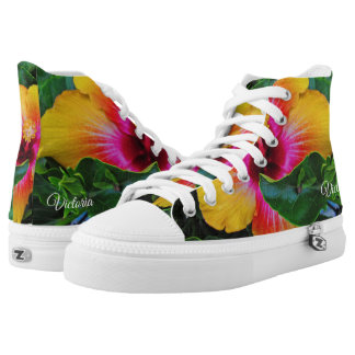 Pretty Yellow and Red Hibiscus High Tops
