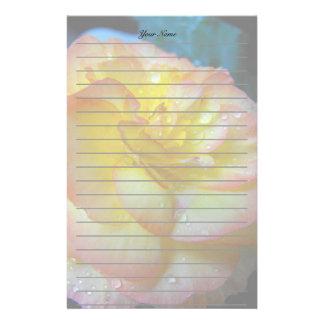 pretty yellow begonia flower personalized stationery