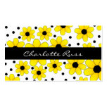 Pretty Yellow & Black Flowers Mommy Card Pack Of Standard Business Cards