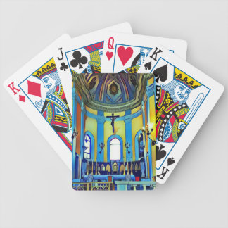 Pretty Yellow Blue Vibrant Church Altar Bicycle Playing Cards