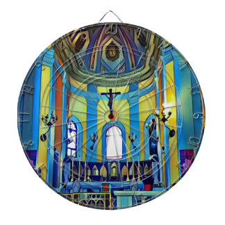 Pretty Yellow Blue Vibrant Church Altar Dartboards