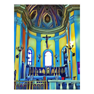 Pretty Yellow Blue Vibrant Church Altar Letterhead