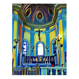 Pretty Yellow Blue Vibrant Church Altar Postcard