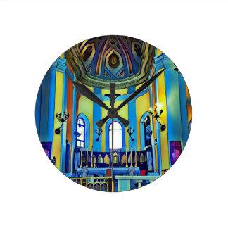 Pretty Yellow Blue Vibrant Church Altar Round Clock