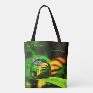 Pretty Yellow Butterfly In Artistic Dew Drop Tote Bag