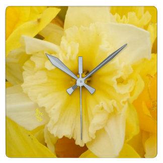 Pretty Yellow Daffodil Flowers Square Wall Clock