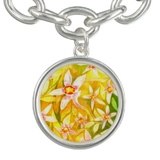 Pretty Yellow Floral Watercolour Charm Bracelet