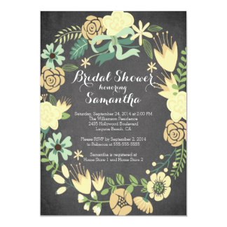 Pretty Yellow Floral Wreath Bridal Shower 5x7 Paper Invitation Card