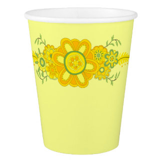 Pretty Yellow Flowers Centerpiece Paper Cup
