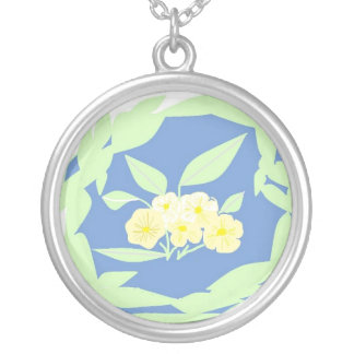 Pretty Yellow flowers. Round Pendant Necklace