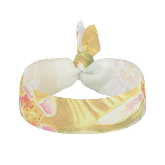 Pretty Yellow, Green & Pink Watercolour Hair Tie