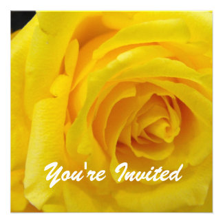 Pretty yellow rose flower blank wedding party invitation