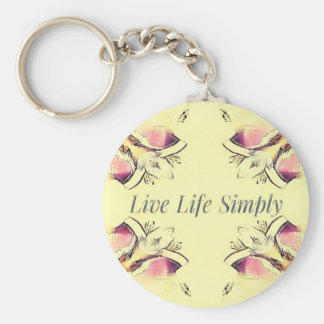 Pretty Yellow Rose Lifestyle Quote Keychain