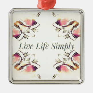 Pretty Yellow Rose Lifestyle Quote Metal Ornament