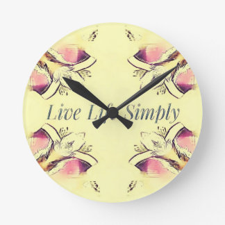 Pretty Yellow Rose Lifestyle Quote Round Clock