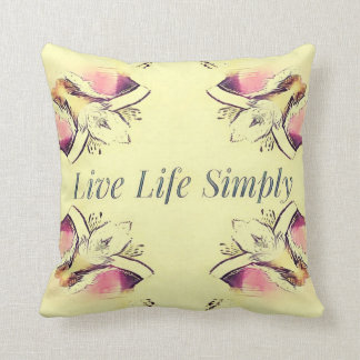Pretty Yellow Rose Lifestyle Quote Throw Pillow