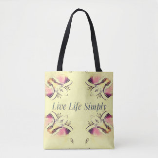 Pretty Yellow Rose Lifestyle Quote Tote Bag
