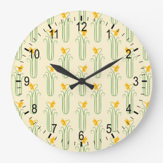 Pretty Yellow Spring Daffodils Large Clock