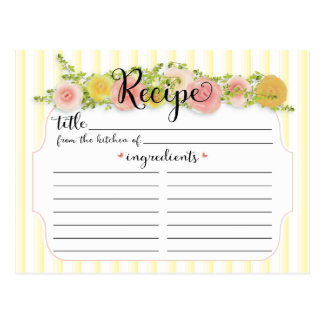 Pretty Yellow Stripes with Roses Recipe Card Postcard
