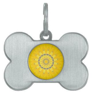 Pretty Yellow Summer Daisy Flower Mandala Circle Pet ID Tags