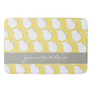 Pretty yellow white vase pattern bathroom mat