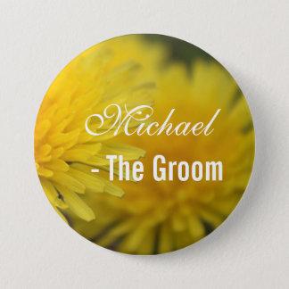 Pretty yellow wild flower dandelion wedding groom 3 inch round button