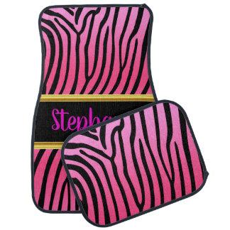 Pretty Zebra pink and black stripes pattern Car Mat