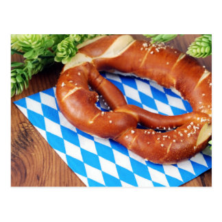 Pretzel with bavarian napkin. Octoberfest Postcard