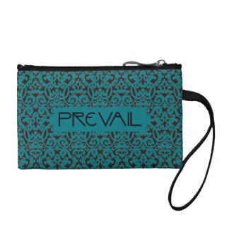 Prevail on Teal and Black Damask Coin Purse