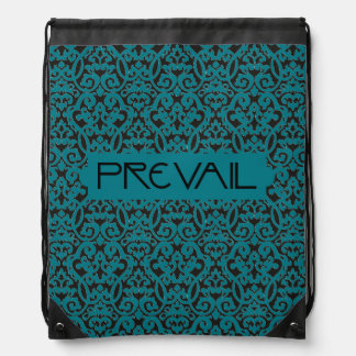 Prevail on Teal and Black Damask Drawstring Bag