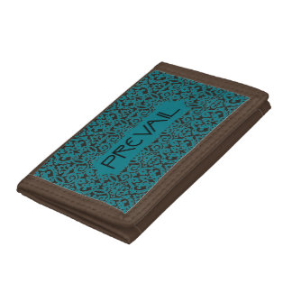 Prevail on Teal and Black Damask Tri-fold Wallet