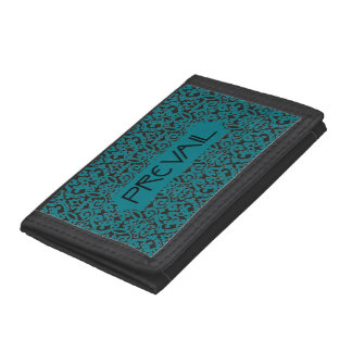 Prevail on Teal and Black Damask Trifold Wallet
