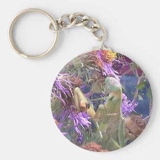 Preying Mantis  & Purple Cone Flowers Keychain