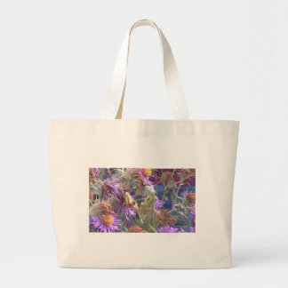 Preying Mantis  & Purple Cone Flowers Large Tote Bag