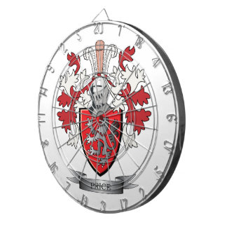 Price Family Crest Coat of Arms Dartboard