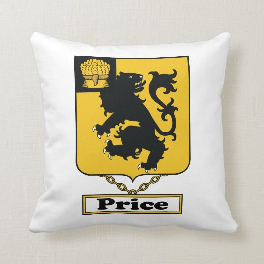 Price Family Crest Throw Pillow