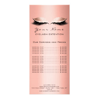 Price List Lashes Extension Makeup Artist Coral Rack Card