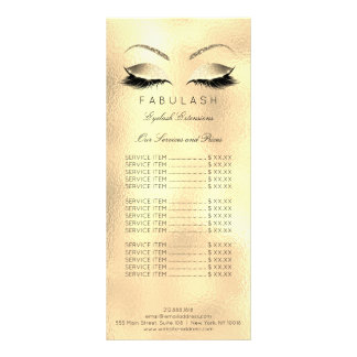 Price List Lashes Extention Gold Makeup Beauty Sal Rack Card