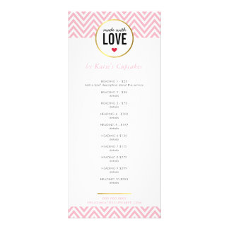 PRICE LIST made with love modern pink chevron Rack Card Design
