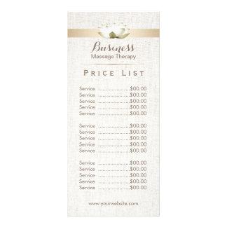 Price List | Massage Therapy Elegant Lotus Salon Rack Card