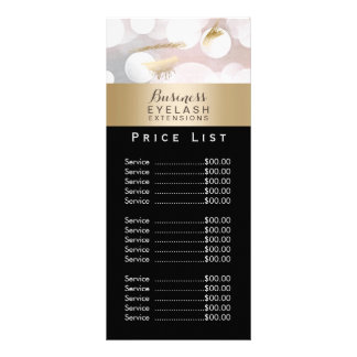 Price List | Modern Silver Gold Eyelash Extensions Custom Rack Card