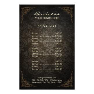 Price List | Vintage Framed Damask Beauty Salon Personalized Flyer