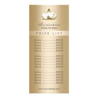 Price List | Yoga Studio Modern Gold Lotus Rack Card