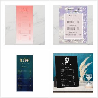 Price lists for salon and spas
