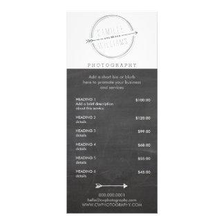 PRICE SERVICES LIST modern arrow logo rustic grey Custom Rack Card