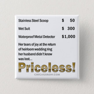 """Priceless"" 2 Inch Square Button"