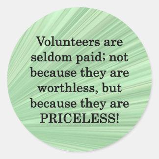 Priceless Volunteers Round Sticker