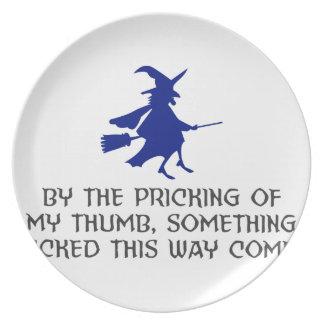 Pricking Of My Thumb Halloween Design Plate