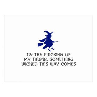 Pricking Of My Thumb Halloween Design Postcard
